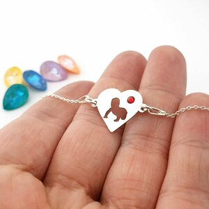 Bratara inima cu bebelus decupat - Argint 925 - Cristal Swarovski  - cu lantisor