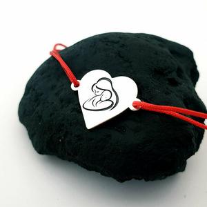 Bratara inima - Imbratisare Mama si Bebe - Argint 925 - Snur reglabil