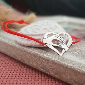 Bratara Inima - Ocrotirea mamei - Argint 925, snur rosu