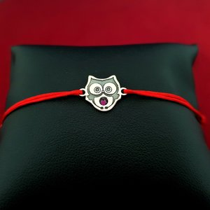 Bratara Bufnita - Argint 925, cristal Swarovski, snur rosu