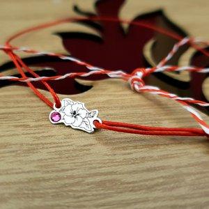 Bratara Floare cu frunze - Argint 925 - cristal Swarovski - snur reglabil