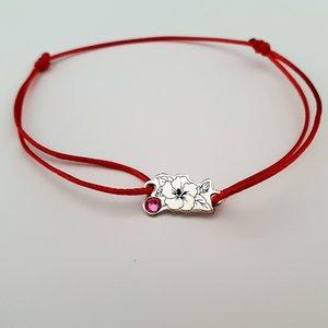 Bratara Floare - Argint 925, cristal Swarovski, snur rosu