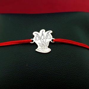 Bratara Ghiocei - Argint 925, snur rosu