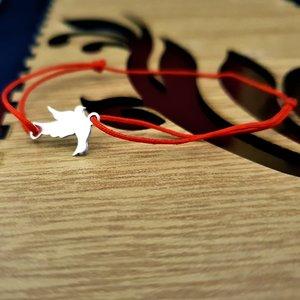 Bratara Porumbel - Argint 925, snur rosu