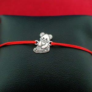 Bratara Ursulet - Argint 925, snur rosu