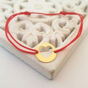 Bratara model banut cu inima decupata - Aur galben 14K - snur reglabil
