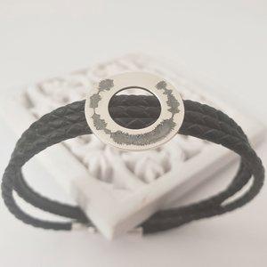 Bratara model Compas - Amprenta Vocala - Unda Sonora Gravata -  Argint 925 si Piele