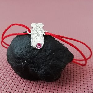 Bratara Papucii Balerinei - Poante - Argint 925, cristal Swarovski si snur rosu