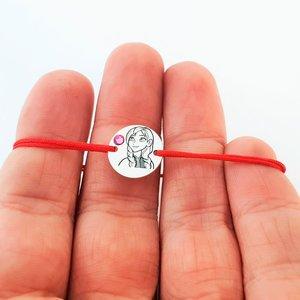 Bratara personaj - Anna - banut de 12 mm -  Argint 925 - cristal Swarovski - snur reglabil