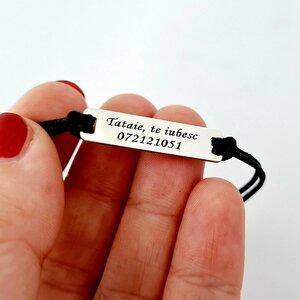 Bratara personalizata - Model placuta - Tataie, te iubesc - Argint 925 - snur gros