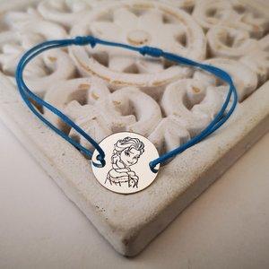 Bratara personalizata - personaj Frozen - Elsa - banut de 15 mm - Argint 925, snur reglabil