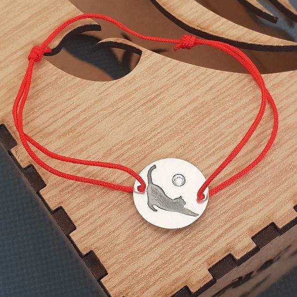 Bratara Pisica cu cristal Swarovski - Argint 925, snur rosu