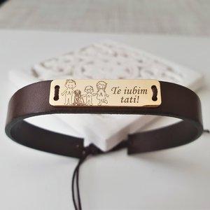 Bratara Placuta gravata cu Membri Familiei si text - 4 membri cu caine - Argint 925 placat cu Aur 14k, piele