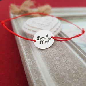 Bratara Proud Mom - Argint 925, snur rosu