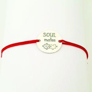 Bratara Soulmates - Argint 925, snur rosu