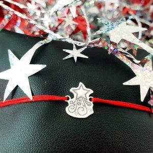 Bratara Craciun - Steaua sus rasare - Argint 925, snur reglabil diverse culori