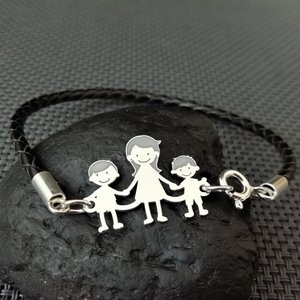 Bratara  Unisex cu membrii Familiei - 3 membri - Mama si copii - Argint 925, piele impletita