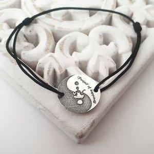 Bratara Yin&Yang - Pursuit of hapiness - Argint 925, snur diverse culori reglabil