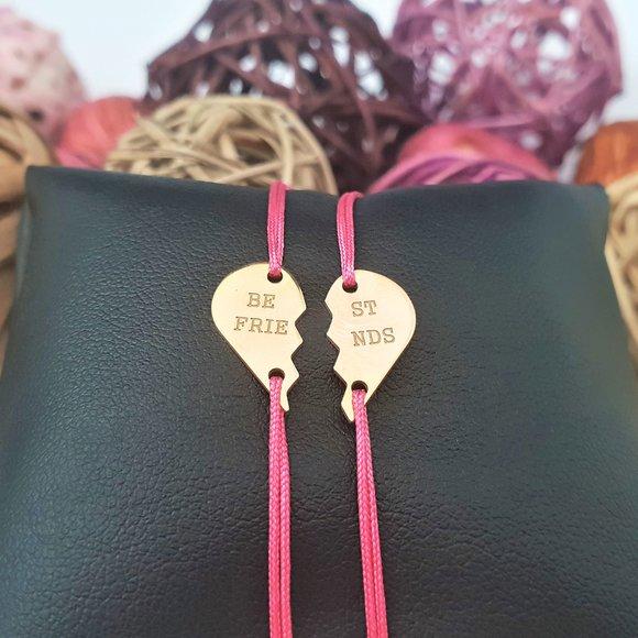 Bratari Best Friends - doua jumatati de inima - Argint 925 placat cu Aur 14K, snur reglabil
