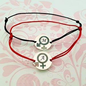 Bratari Cuplu - simbol gen feminin/masculin - Argint 925, snur