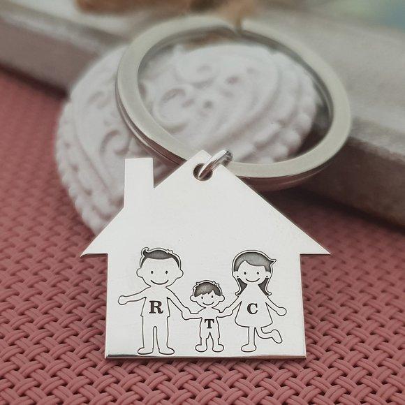 Breloc Casuta cu membri familie gravati -Mama, Tata si Baiat - Argint 925, otel inoxidabil