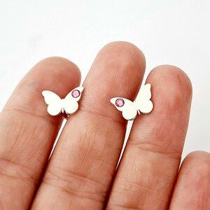 Cercei fluture - model simplu cu cristal Swarovski - Argint 925 - inchidere surub