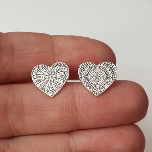 Cercei Inima - model Mandala - Argint 925, surub