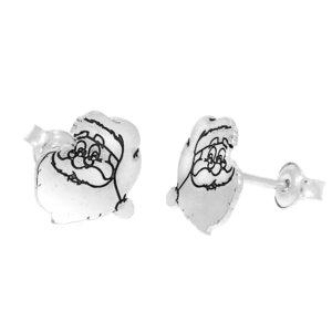 Cercei Craciun - Mos Craciun cu plete dalbe - Argint 925, surub