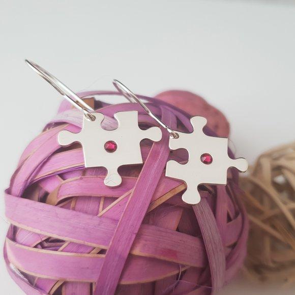 Cercei piesa de puzzle cu tortita - Argint 925, cristal Swarovski