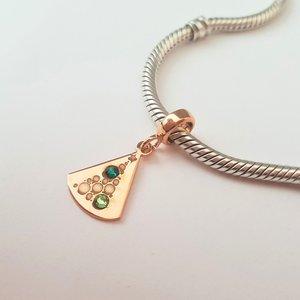 Charm personalizat Craciun - Brad cu globuri - Argint 925 placat cu Aur roz 14K - cristale Swarovski