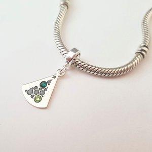 Charm personalizat Craciun - Brad cu globuri - Argint 925 si cristale Swarovski