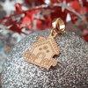 Charm personalizat Craciun - Casa de turta dulce - Argint 925 placat cu Aur roz 14K
