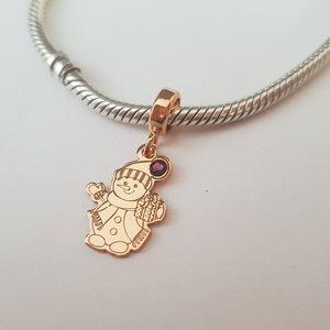 Charm personalizat Craciun - Om de zapada - Argint 925 placat cu Aur roz 14K - cristal Swarovski