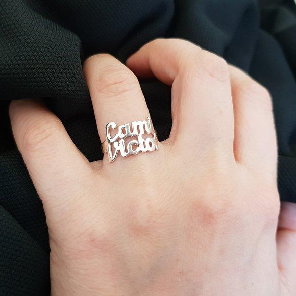 Inel personalizat cu 2 nume decupate - Argint 925
