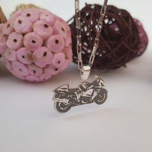 Lant barbatesc cu pandantiv personalizat - Motocicleta - Argint 925