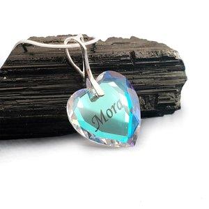 Lantisor Argint 925 cu pandantiv cristal Swarovski inima gravat - Blue Aurore Boreale