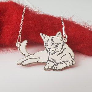 Lantisor cu pandantiv Pisica intinsa - Argint 925