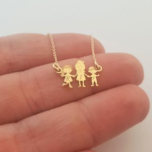 Lantisor Familie - 3 Membri - Bunica si nepoti -  Aur galben 14K - 10 mm inaltime