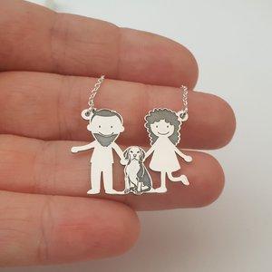 Lantisor Familie - 3 Membri cu Beagle - Argint 925