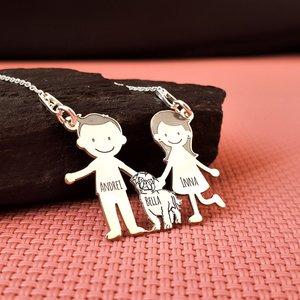 Lantisor Familie - 3 Membri cu Shih Tzu - Argint 925