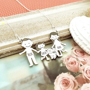 Lantisor Familie - 4 Membri cu Chow Chow - Argint 925
