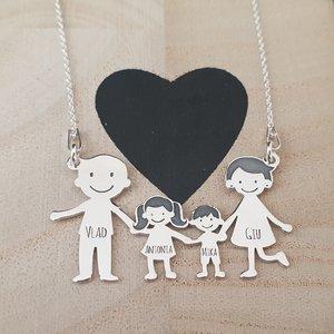 Lantisor Familie - 4 Membri - Tata Chel si Mama cu par scurt - Argint 925