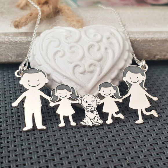 Lantisor Familie - 5 Membri cu Bichon - Argint 925