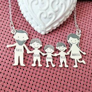 Lantisor Familie - 5 Membri - Tata cu barba si baieti cu parul cret - Argint 925