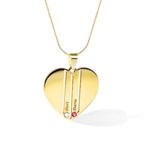 Lantisor Familie Inima - 2 membri - Argint 925 placat cu Aur 14K si cu cristale Swarovski