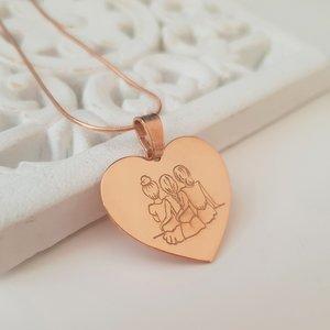 Lantisor Inima 3 Surori / Prietene - Argint 925 placat cu Aur Roz 14K