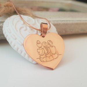 Lantisor Inima 3 Surori / Prietene - Argint 925 placat cu Aur 14K