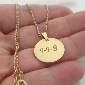 Lantisor personalizat - 1+1=3 - Argint 925 placat cu Aur Galben 14K