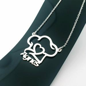 Lantisor personalizat - Boneta bucatar cu nume decupat - Argint 925