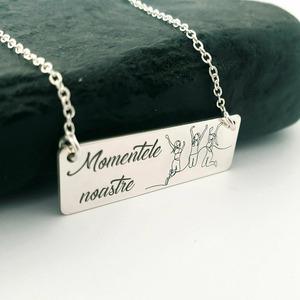 Lantisor personalizat cu pandantiv placuta - Momentele noastre - Argint 925